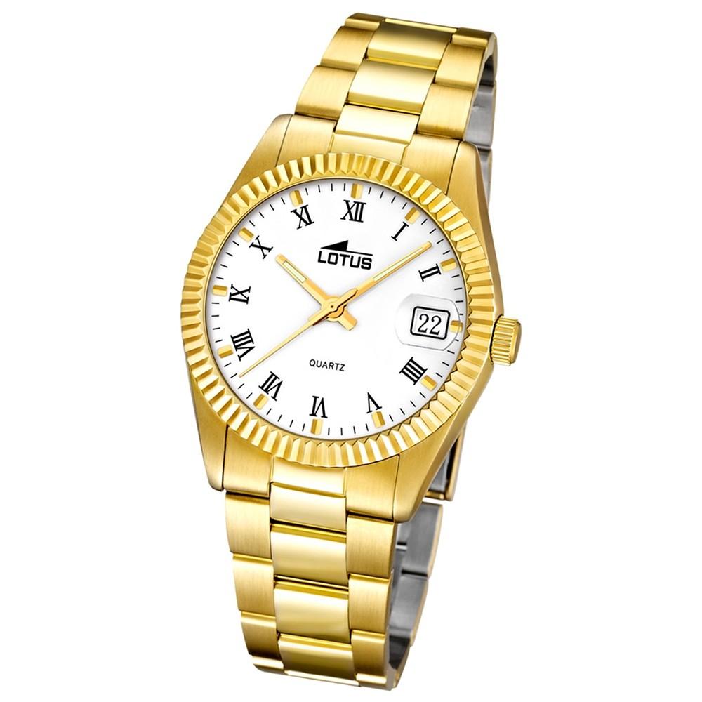 LOTUS Damenuhr Typ R. Analog Quarz Uhr Edelstahl Armband gold UL15799/1
