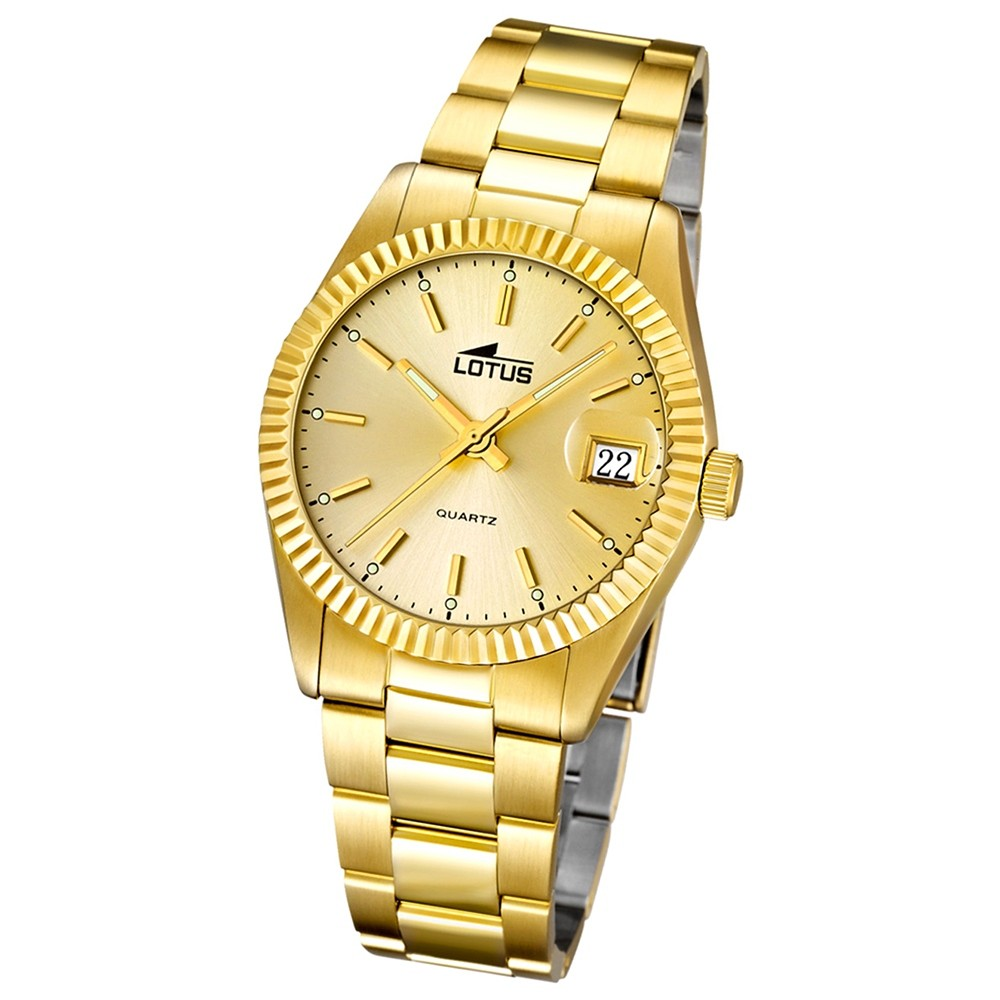 LOTUS Damenuhr Typ R. Analog Quarz Uhr Edelstahl Armband gold UL15799/2