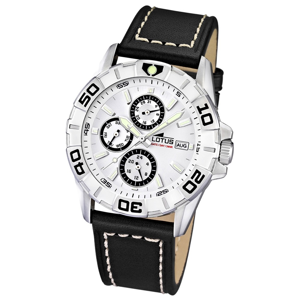 LOTUS Herrenuhr Multifunktion schwarz-weiß Sport Kollektion UL15813/1