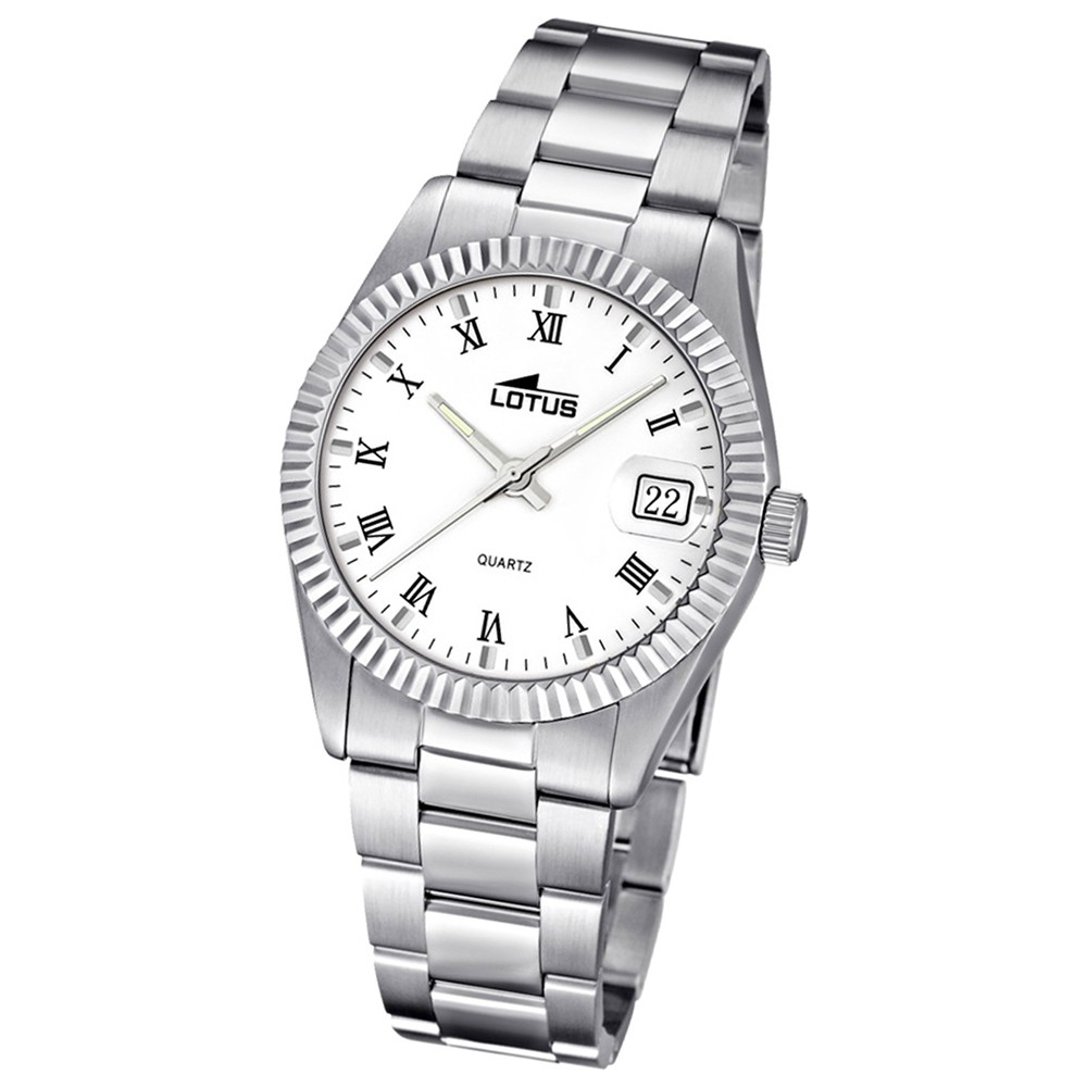 LOTUS Damenuhr Typ R. Analog Quarz Uhr Edelstahl Armband silber UL15822/1