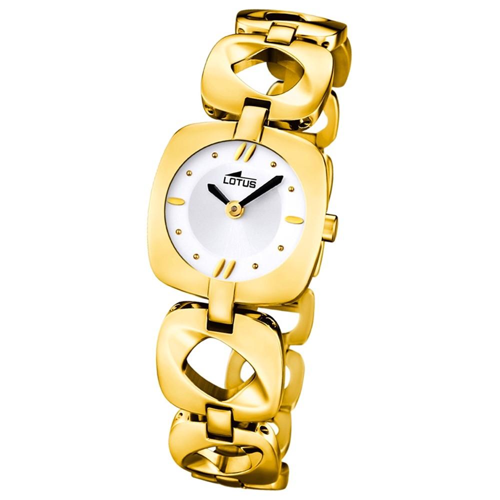 LOTUS Damenuhr Quarzuhr gold-weiß Klassik Uhren Kollektion UL15838/2