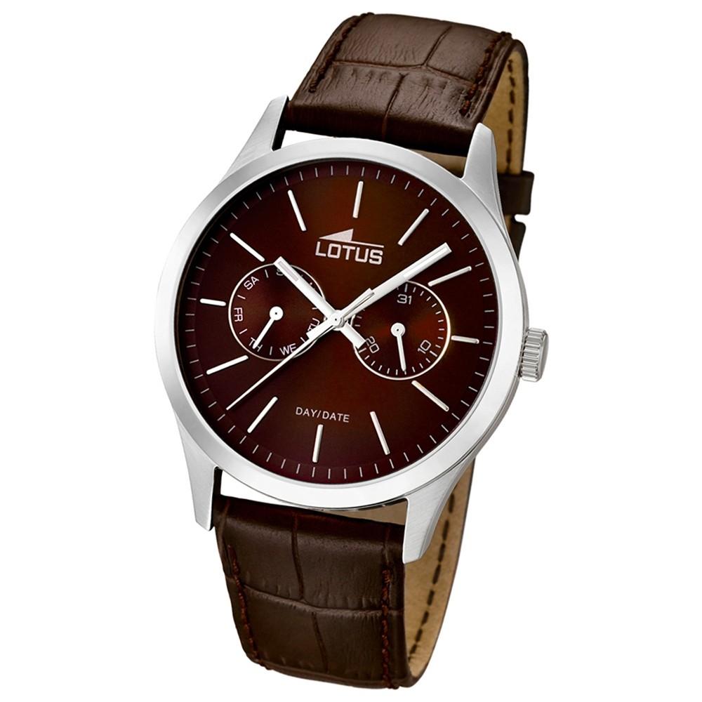 LOTUS Herrenuhr Minimalist Analog Quarz Uhr Leder Armband braun UL15956/2