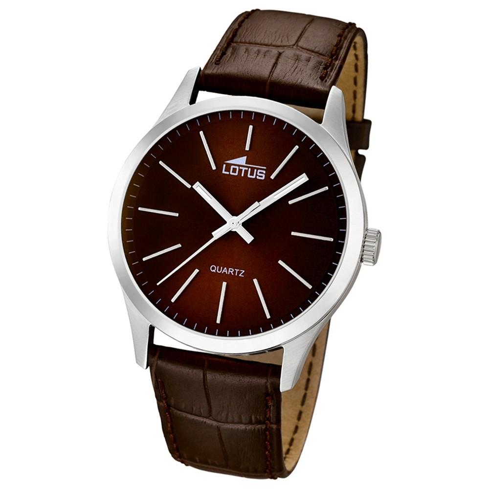 LOTUS Herrenuhr Minimalist Analog Quarz Uhr Leder Armband braun UL15961/2