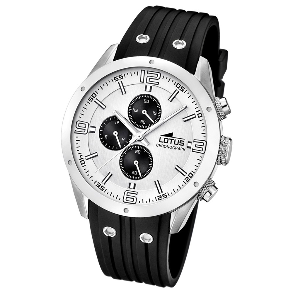 LOTUS Herrenuhr Chronograph Analog Quarz Uhr PU Armband schwarz UL15969/1
