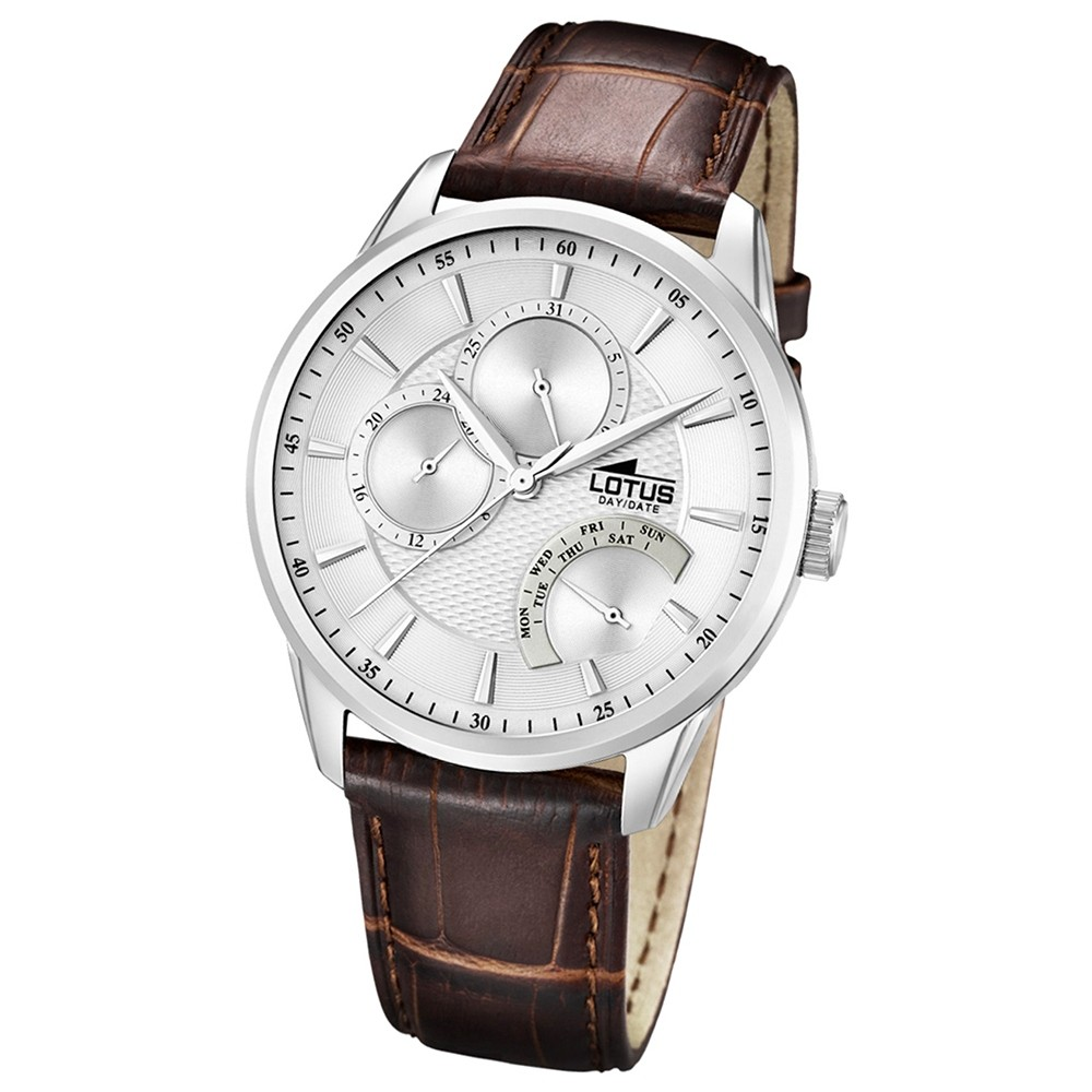 LOTUS Herrenuhr Multifunktion Analog Quarz Uhr Leder Armband braun UL15974/1