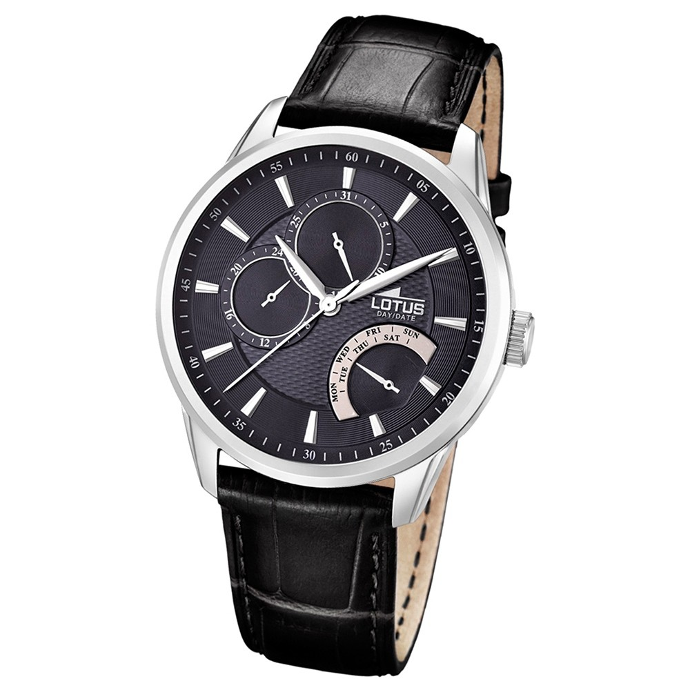 LOTUS Herrenuhr Multifunktion Analog Quarz Uhr Leder schwarz UL15974/4