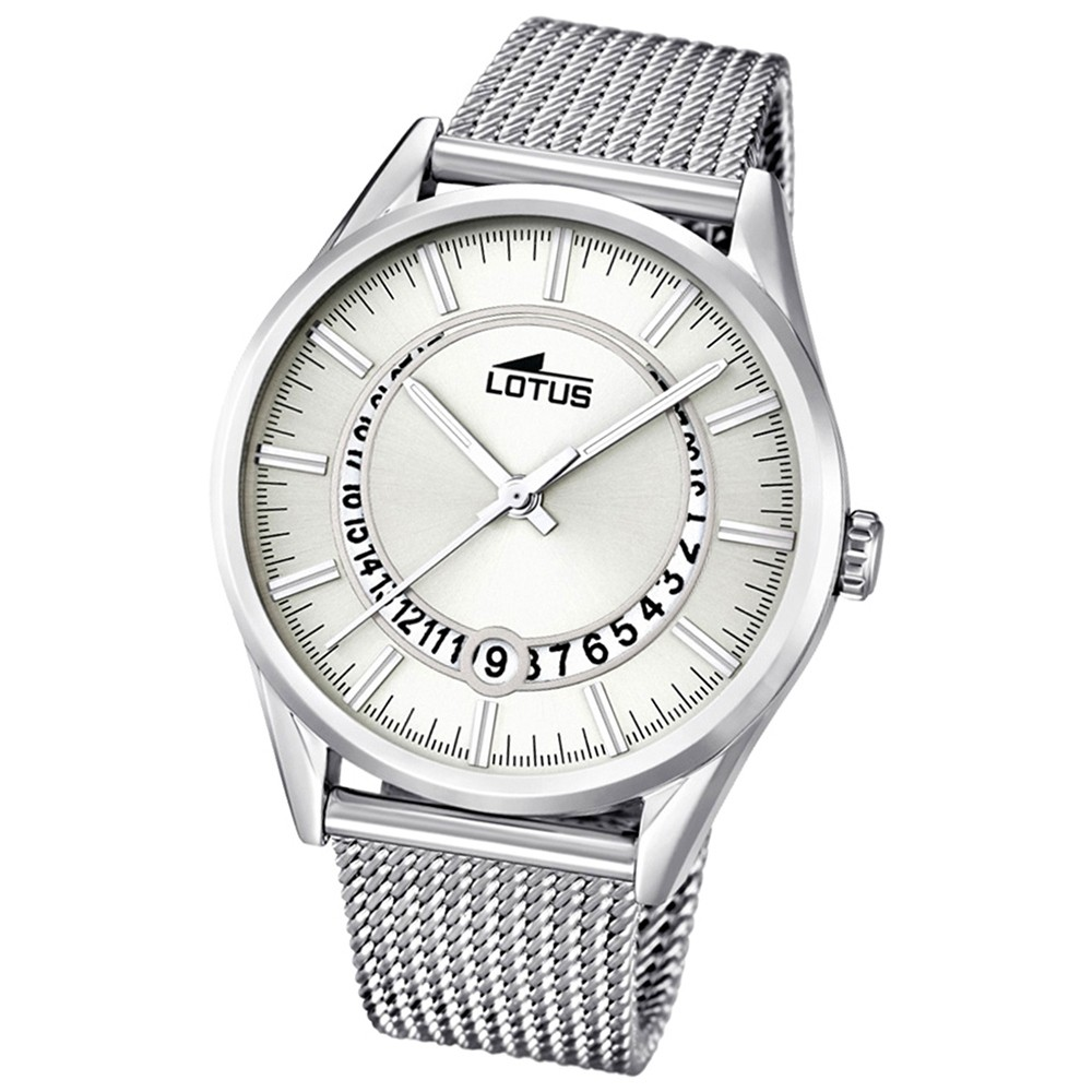 LOTUS Damenuhr Minimalist Analog Quarz Uhr Edelstahl Armband silber UL15975/1
