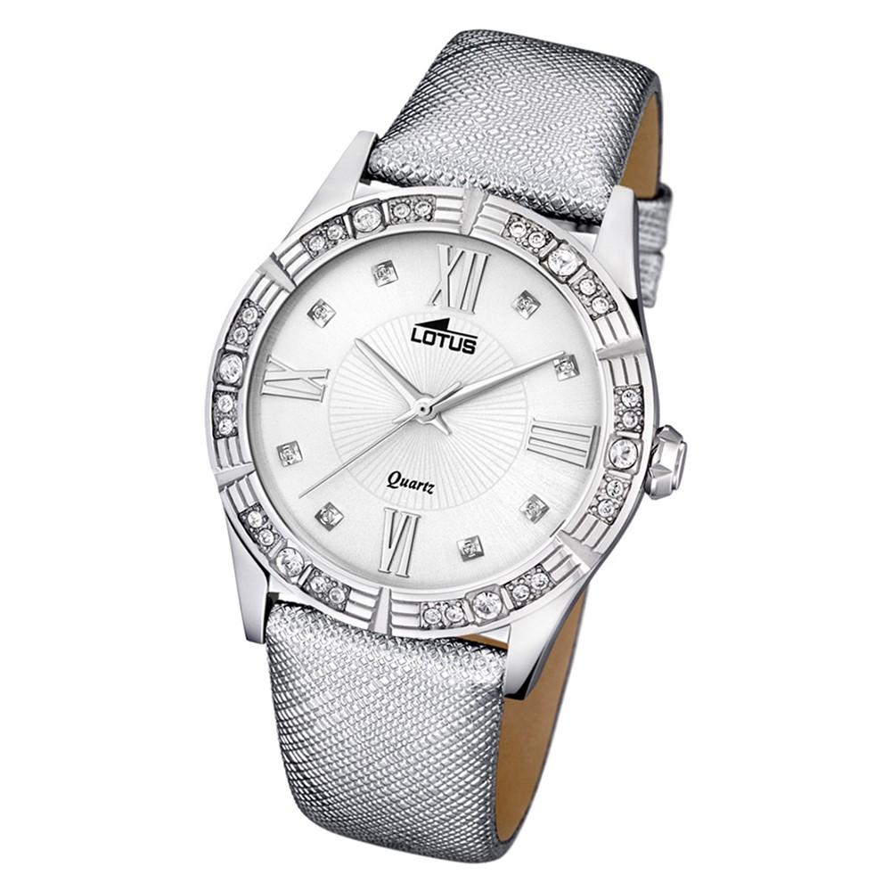 Lotus Damen-Armbanduhr Leder/Textil grau 15981/4 Quarz Trendy UL15981/4