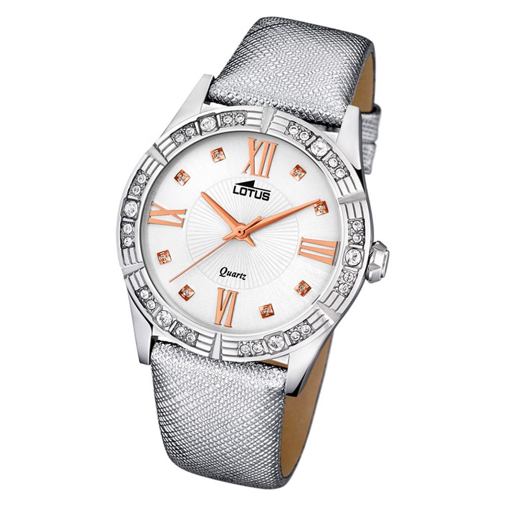 Lotus Damen-Armbanduhr Leder/Textil grau 15981/5 Quarz Trendy UL15981/5