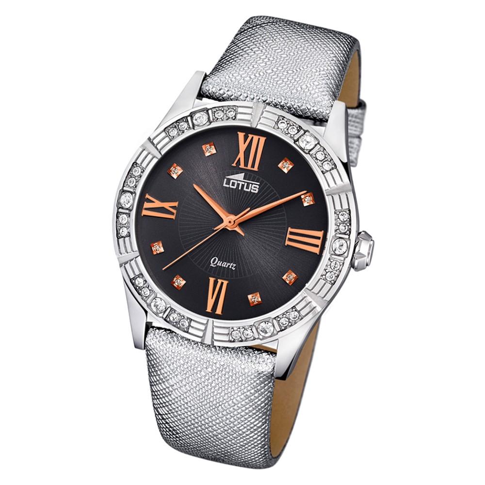 Lotus Damen-Armbanduhr Leder/Textil grau 15981/6 Quarz Trendy UL15981/6