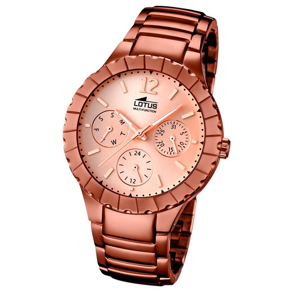 LOTUS Damen-Armbanduhr Multifunktion Analog Quarz-Uhr Edelstahl bronze UL15998/1