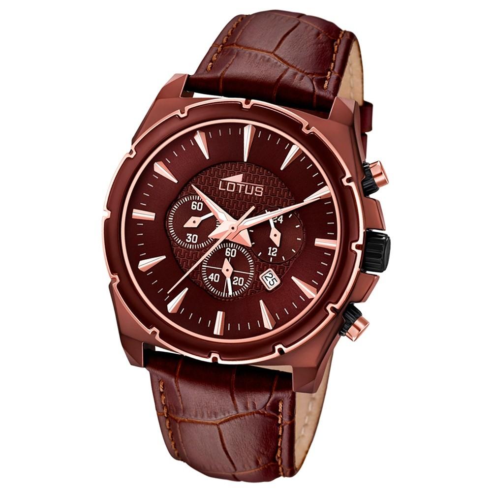 LOTUS Chronograph Herrenuhr braun, Lederband braun Trendy Uhren UL18015/1
