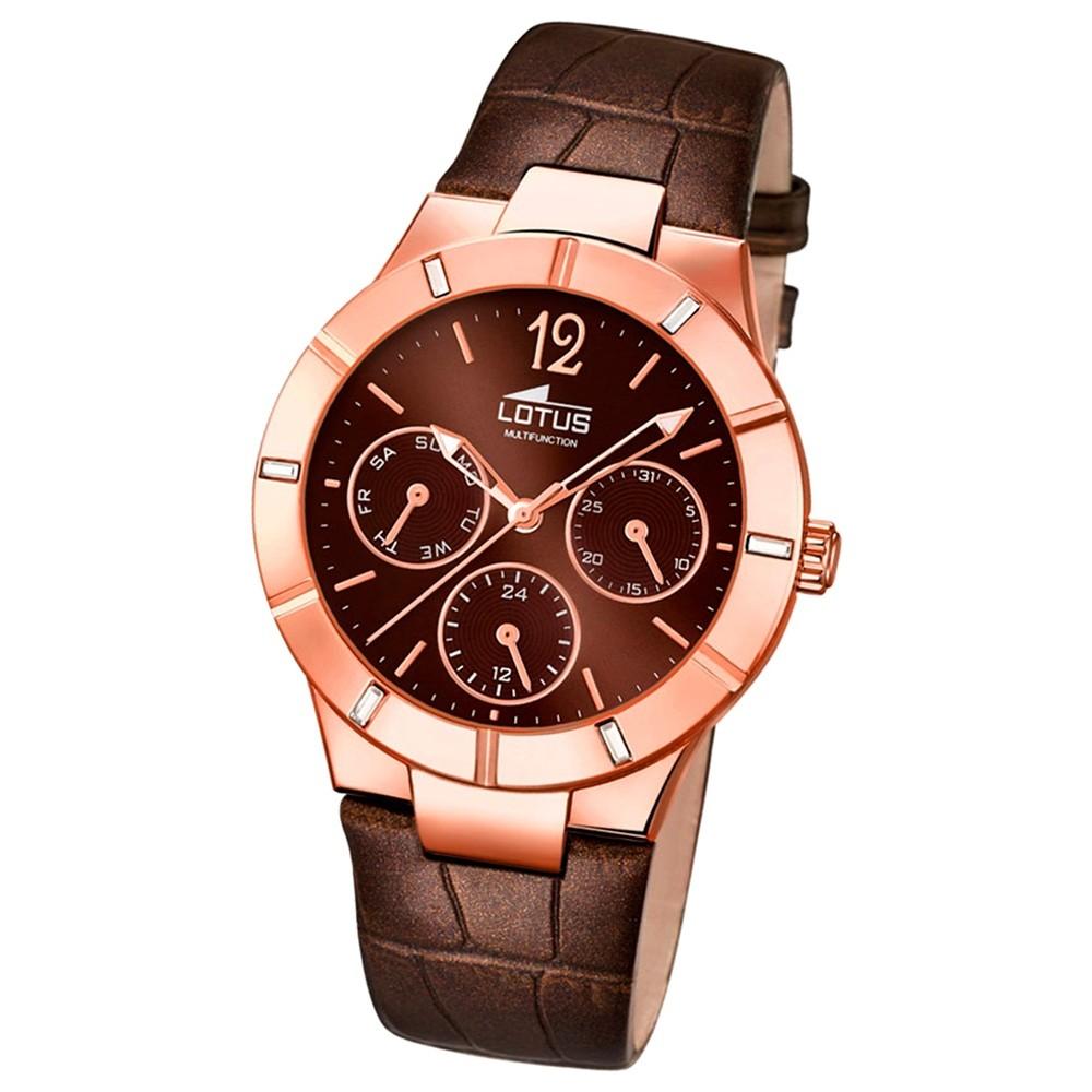 LOTUS Damen-Armbanduhr Multifunktion Analog Quarz-Uhr Leder braun UL18100/2