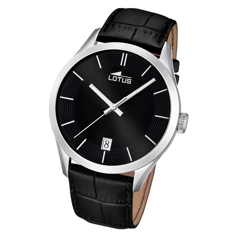 LOTUS Herren Damen Armbanduhr Minimalist 18111/2 Leder schwarz UL18111/2