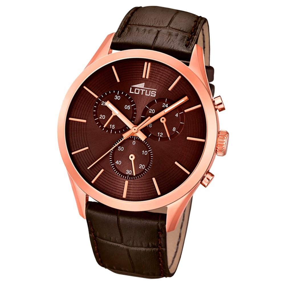 LOTUS Herren-Armbanduhr Minimalist Chronograph Quarz-Uhr Leder braun UL18121/2