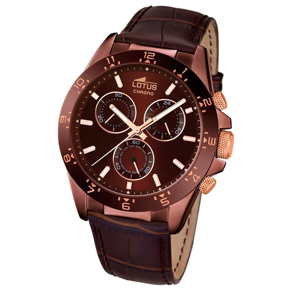 LOTUS Herren-Armbanduhr Minimalist Chronograph Quarz-Uhr Leder braun UL18158/6
