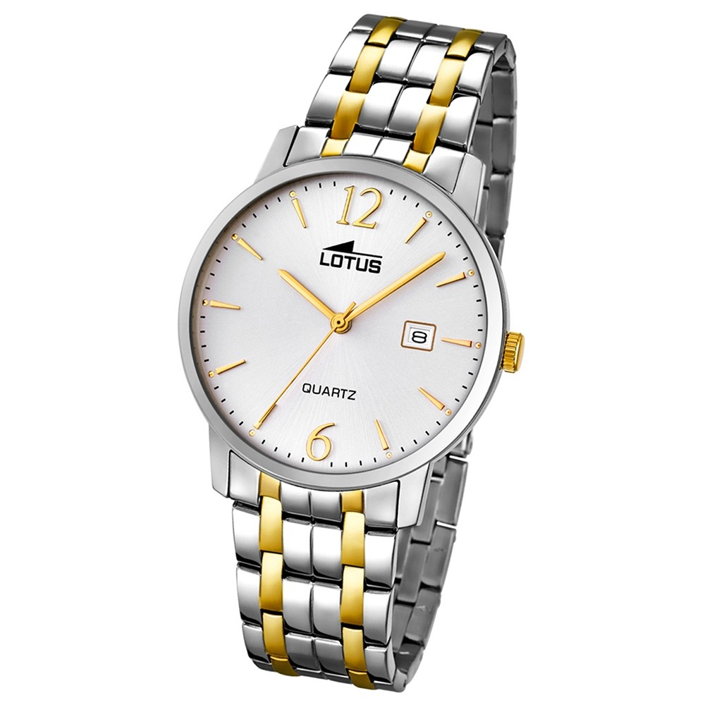 LOTUS Herren-Armbanduhr Analog Quarz Edelstahl silber, gold UL18176/1