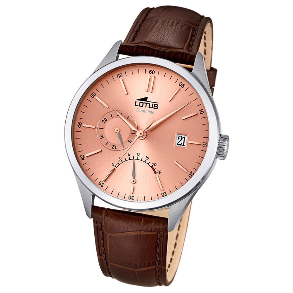 LOTUS Herren-Armbanduhr Multifunktion Analog Quarz Leder braun UL18214/2