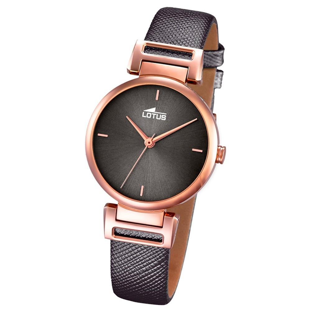 LOTUS Damen-Armbanduhr Analog Quarz Leder schwarz UL18229/3