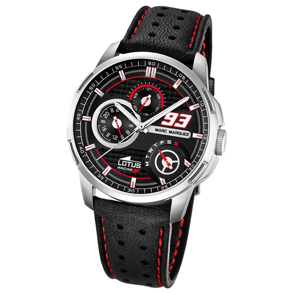 LOTUS Herren-Armbanduhr Marc Marquez Analog Quarz-Uhr Leder schwarz UL18241/4