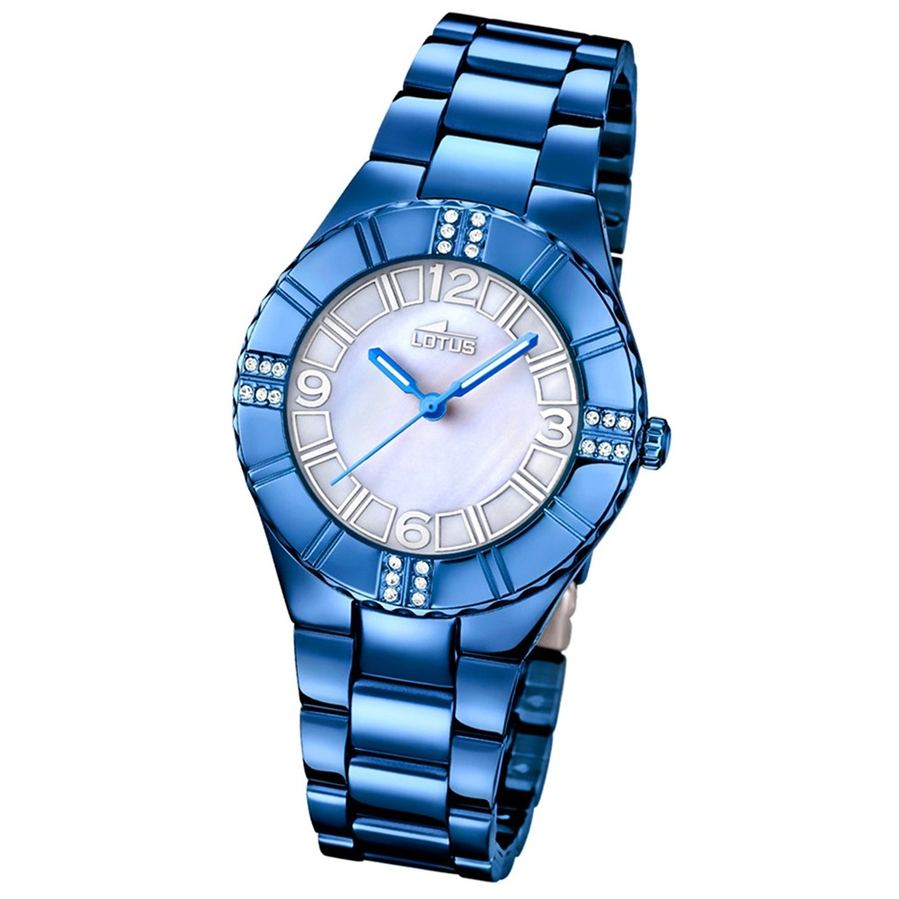 LOTUS Damen-Armbanduhr Trendy Analog Quarz-Uhr Edelstahl blau UL18247/1