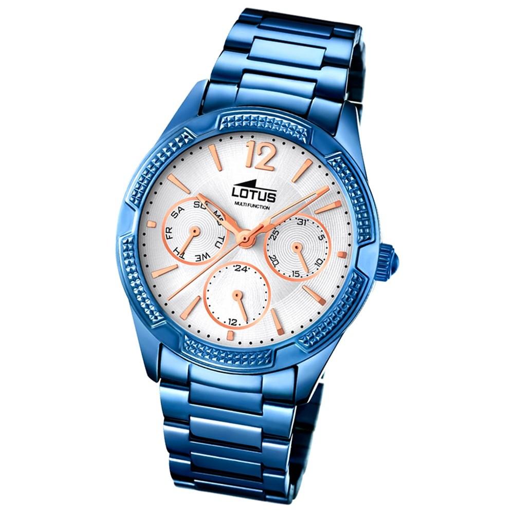 LOTUS Damen-Armbanduhr Trendy Analog Quarz-Uhr Edelstahl blau UL18248/1