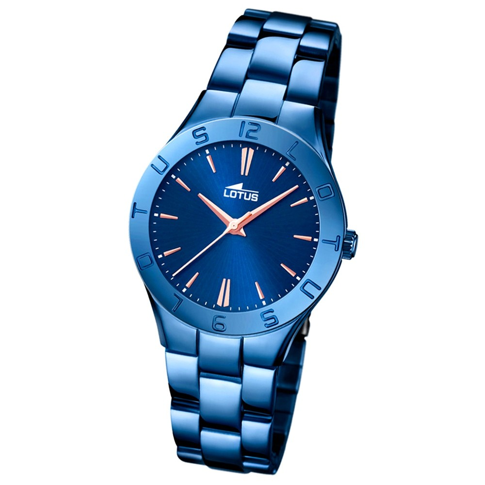 LOTUS Damen-Armbanduhr Trendy Analog Quarz-Uhr Edelstahl blau UL18249/2