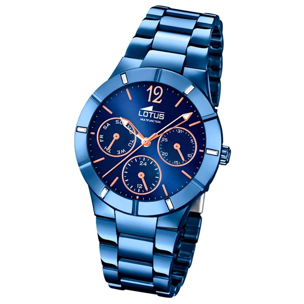 LOTUS Damen-Armbanduhr Trendy Analog Quarz-Uhr Edelstahl blau UL18250/2