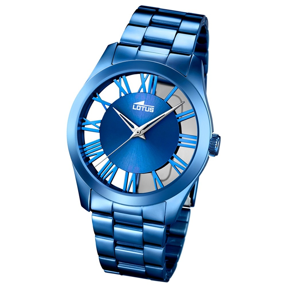 LOTUS Damen-Armbanduhr Trendy Analog Quarz-Uhr Edelstahl blau UL18252/1
