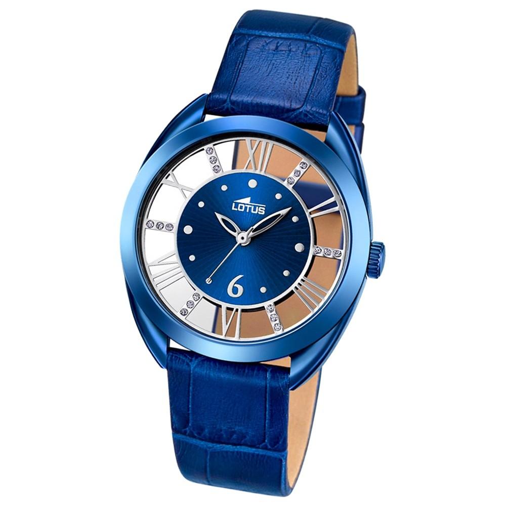 LOTUS Damen-Armbanduhr Trendy Analog Quarz-Uhr Leder blau UL18253/2