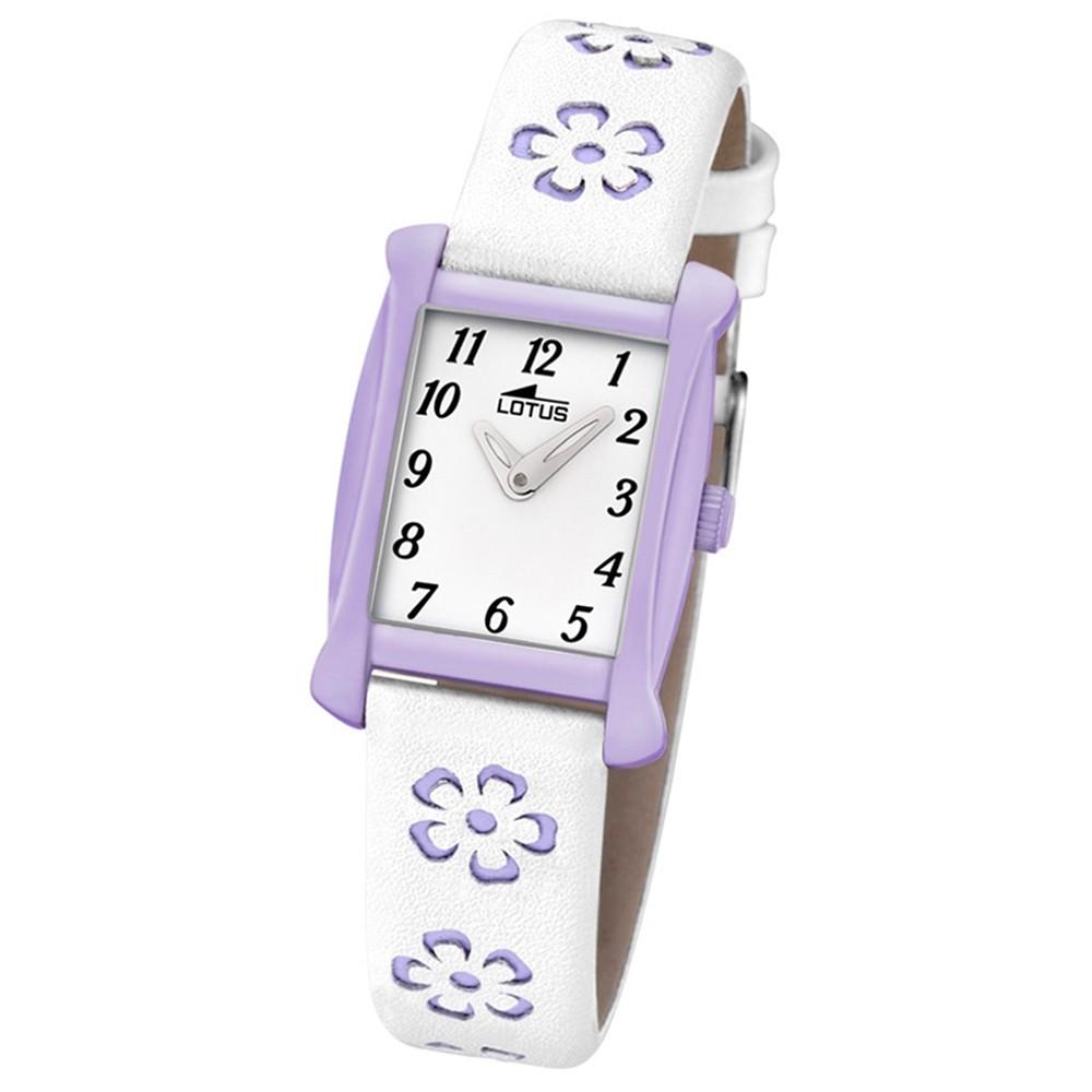 LOTUS Kinder-Armbanduhr Blumen Junior Collection Quarz Leder weiß lila UL18255/4