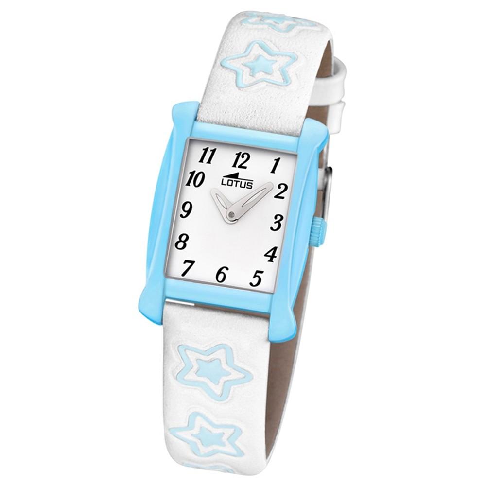 LOTUS Kinder-Armbanduhr Sterne Junior Collection Quarz Leder weiß blau UL18256/3