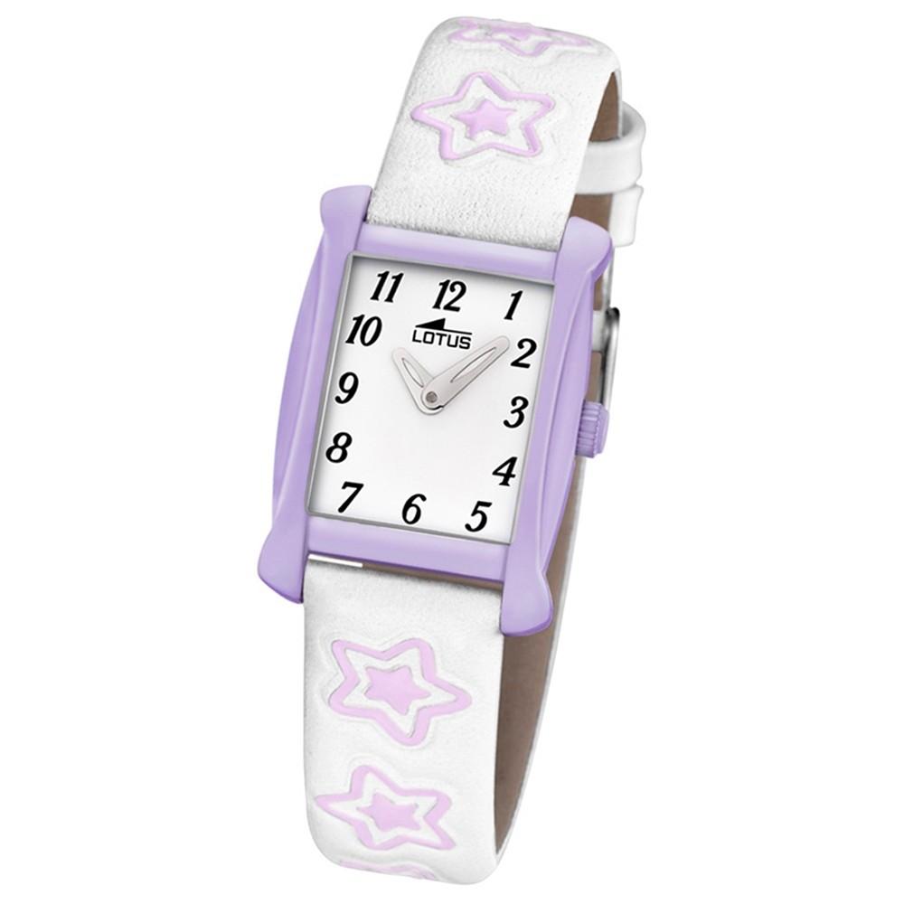 LOTUS Kinder-Armbanduhr Sterne Junior Collection Quarz Leder weiß lila UL18256/4