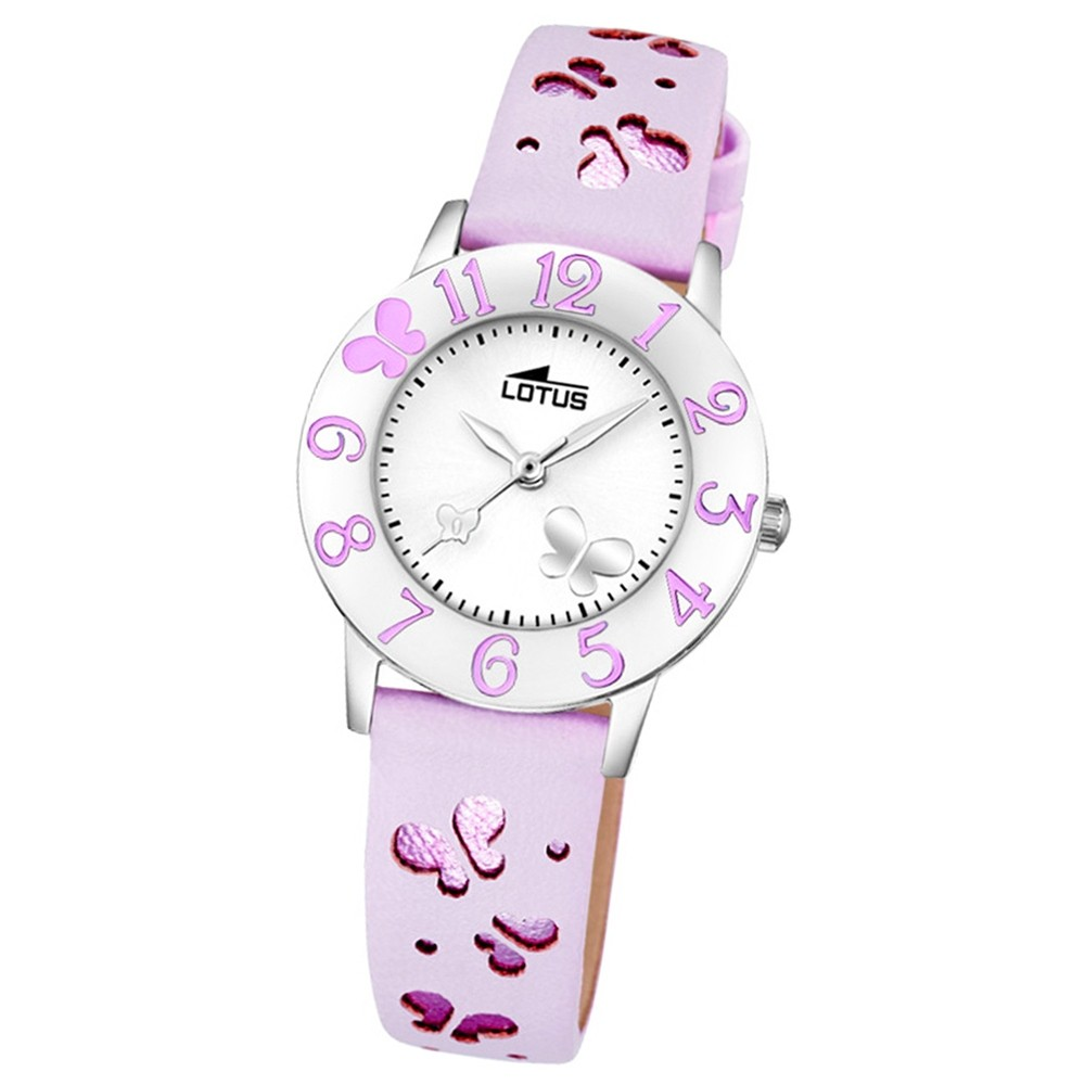 LOTUS Jugenduhr Schmetterling Junior Analog Quarz-Uhr Leder pink UL18269/3