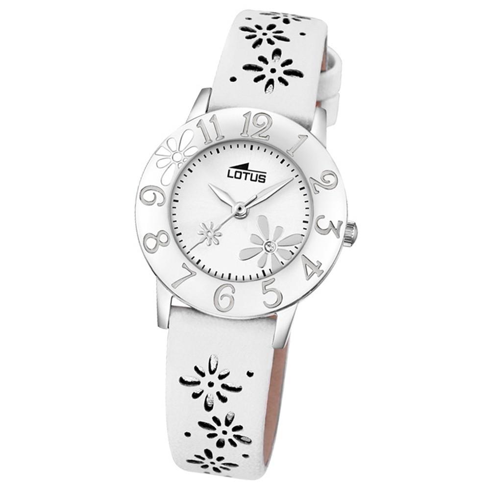 LOTUS Jugend-Armbanduhr Junior Blume Analog Quarz-Uhr Leder weiß UL18270/1