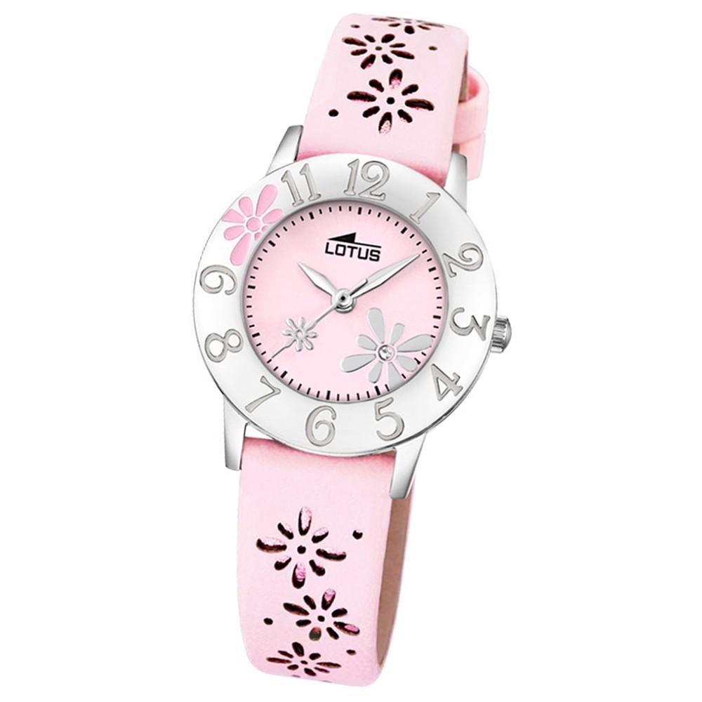 LOTUS Jugend-Armbanduhr Junior Blume Analog Quarz-Uhr Leder rosa UL18270/2