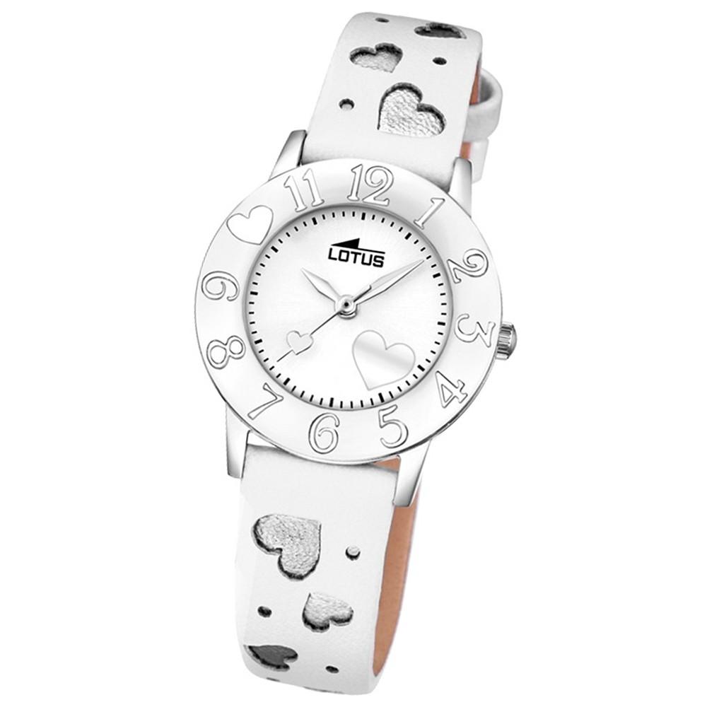 LOTUS Jugend-Armbanduhr Junior Herz Analog Quarz-Uhr Leder weiß UL18271/1