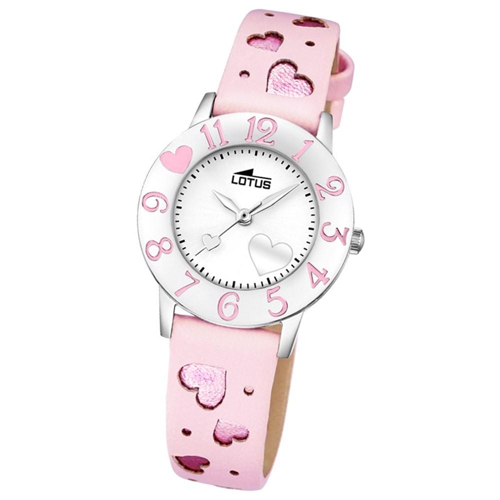 LOTUS Jugend-Armbanduhr Junior Herz Analog Quarz-Uhr Leder rosa UL18271/2