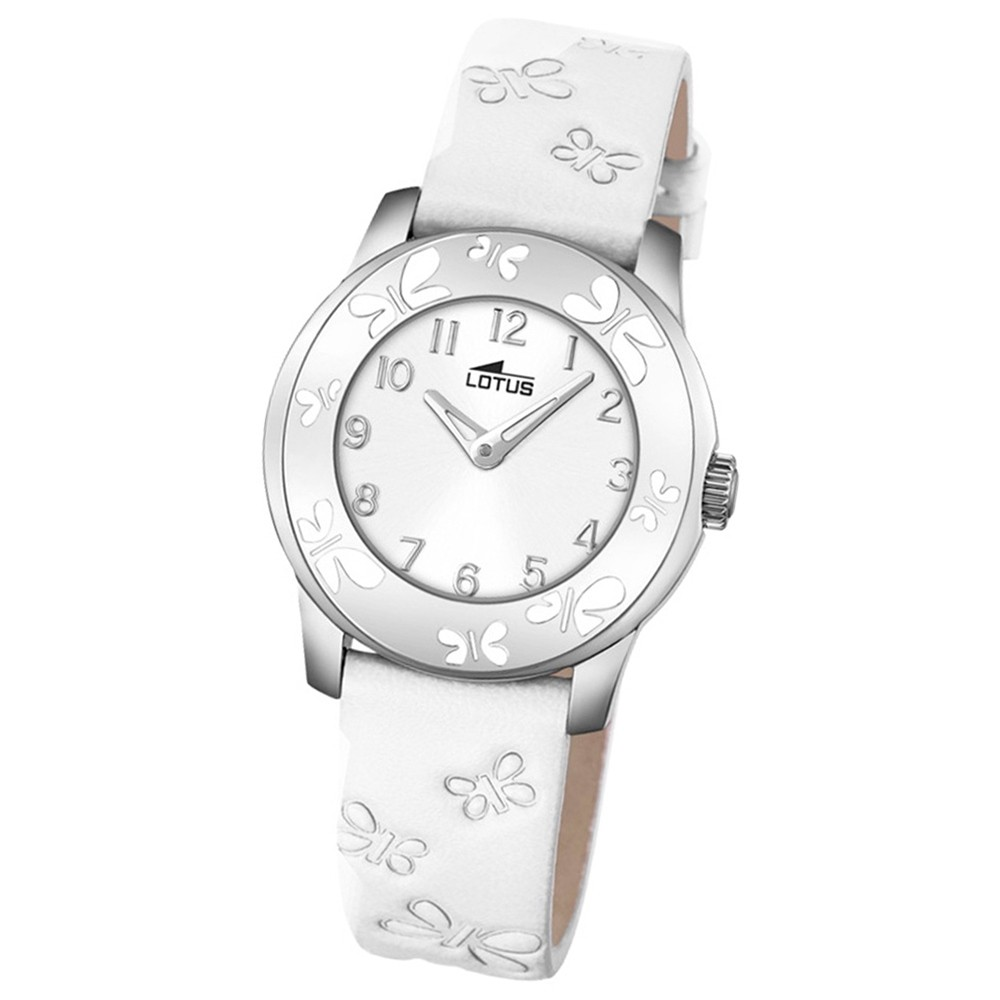 LOTUS Jugend-Armbanduhr Junior Schmetterling Quarz-Uhr Leder weiß UL18272/1