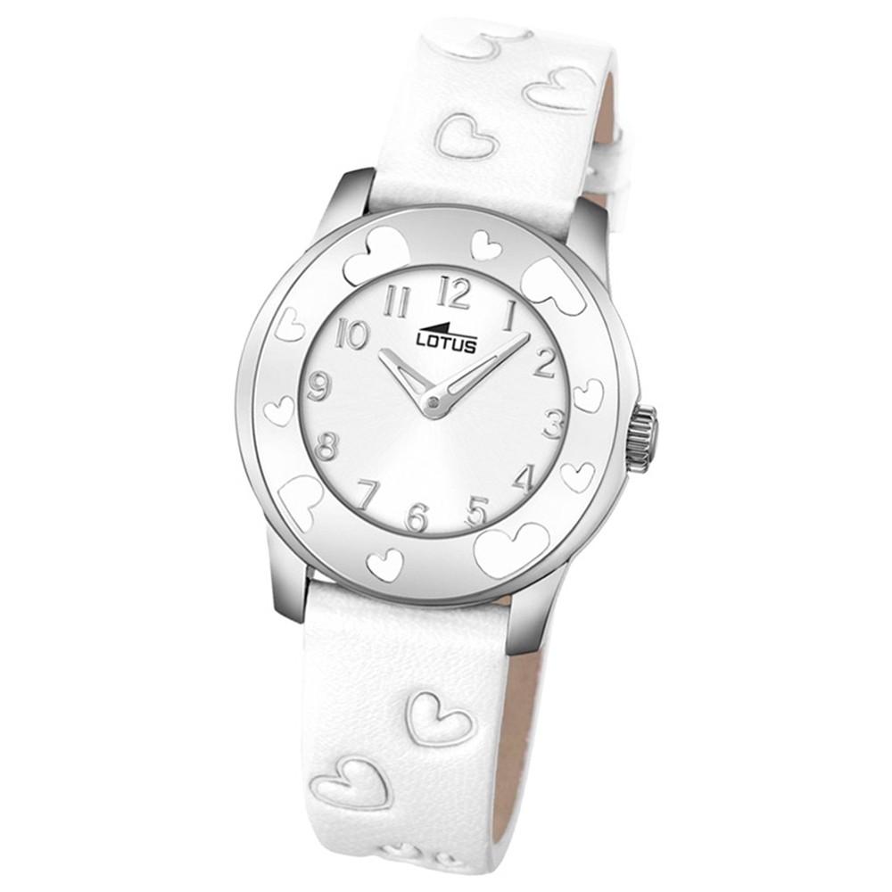 LOTUS Jugend-Armbanduhr Junior Herz Analog Quarz-Uhr Leder weiß UL18273/1