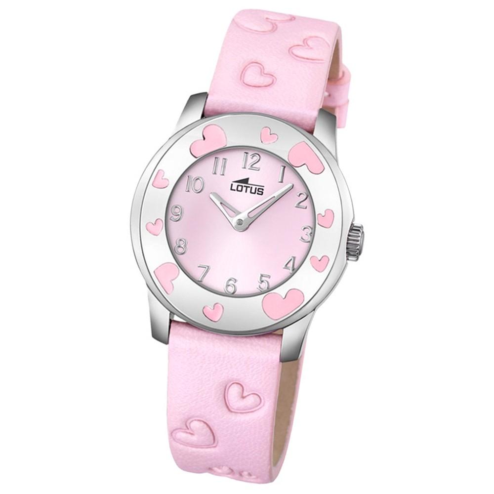 LOTUS Jugend-Armbanduhr Junior Herz Analog Quarz-Uhr Leder rosa UL18273/2