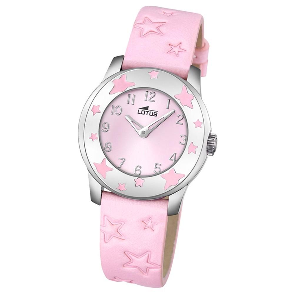 LOTUS Jugend-Armbanduhr Junior Sterne Analog Quarz-Uhr Leder rosa UL18274/2