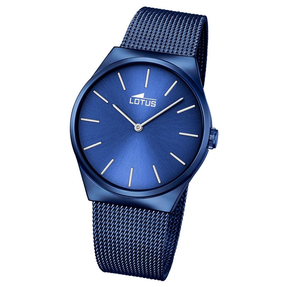 LOTUS Herren Damen-Armbanduhr Stahlband klassisch Quarz Edelstahl blau UL18287/2