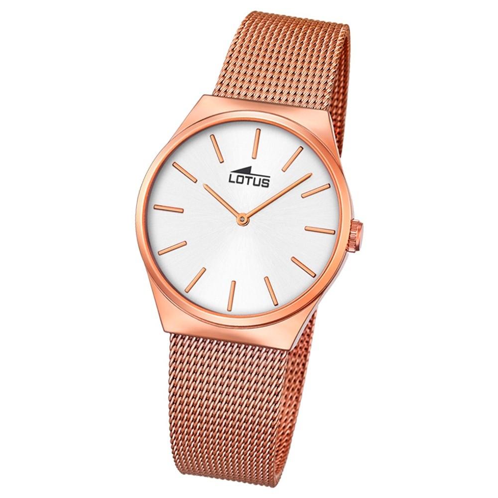 LOTUS Damen-Armbanduhr Edelstahl kupfer Stahlband klassisch Quarz UL18289/1