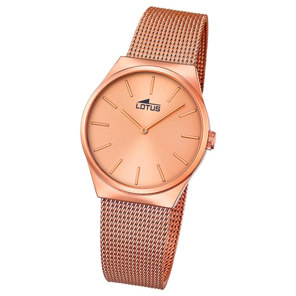 LOTUS Damen-Armbanduhr Stahlband klassisch Quarz Edelstahl kupfer UL18289/2