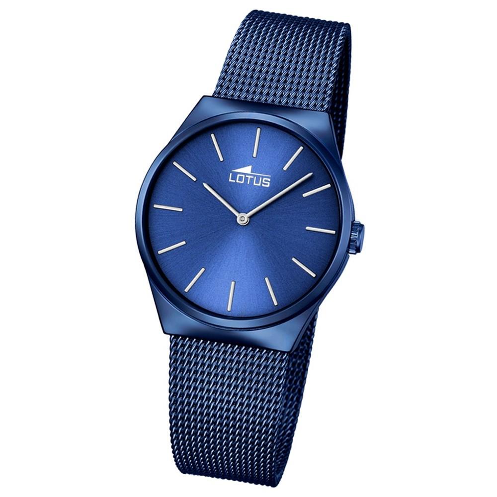 LOTUS Damen-Armbanduhr Stahlband klassisch Analog Quarz Edelstahl blau UL18290/2