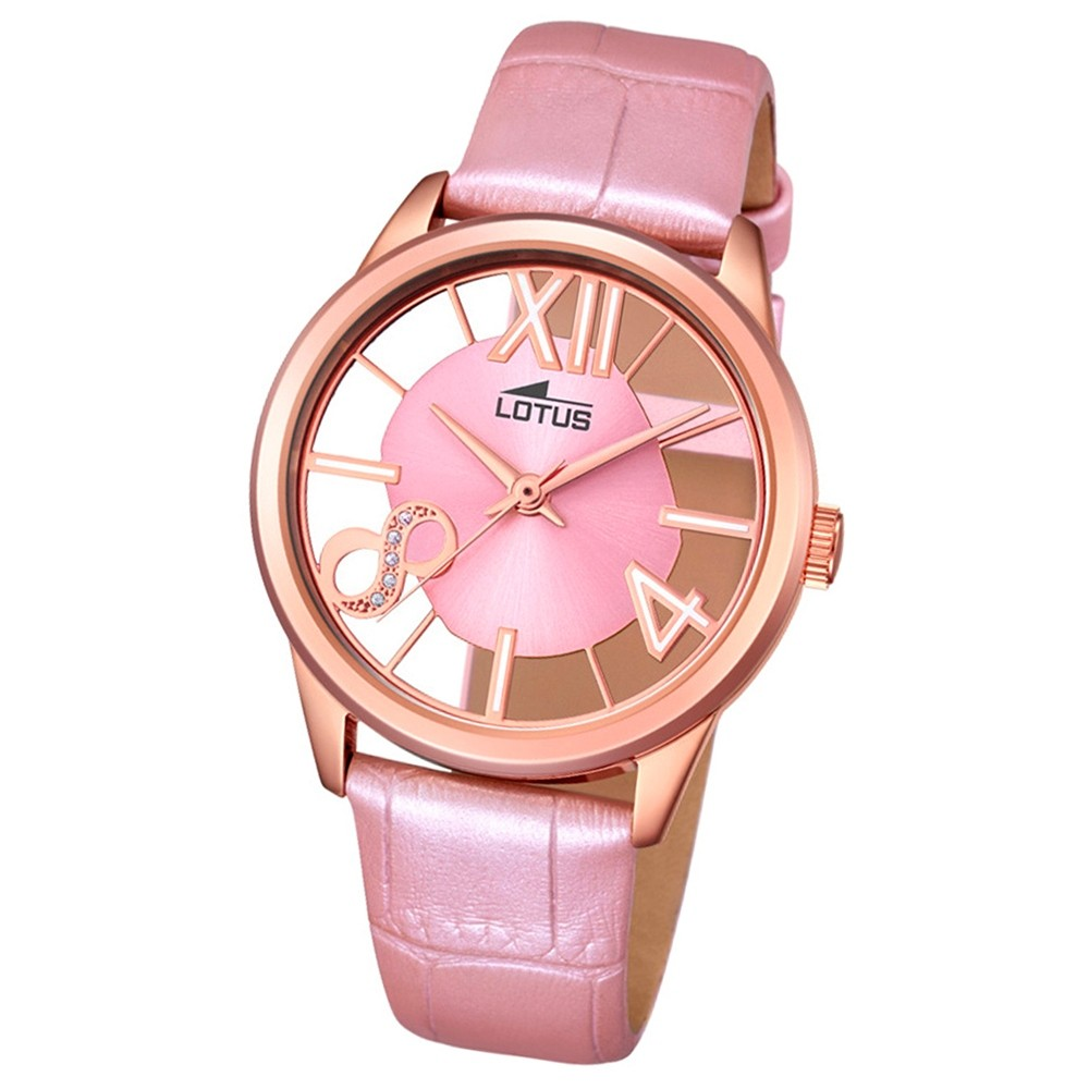 LOTUS Damen-Armbanduhr transparent Trendy Analog Quarz-Uhr Leder rosa UL18306/1