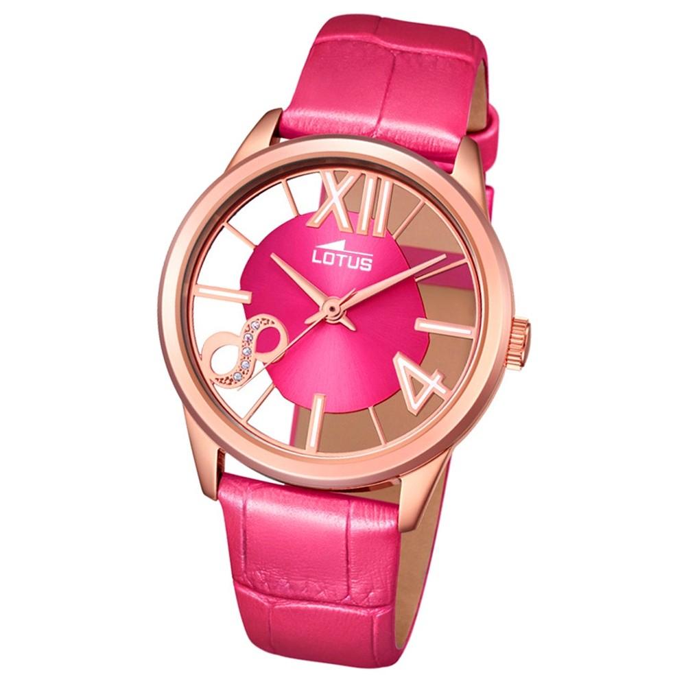 LOTUS Damen-Armbanduhr transparent Trendy Analog Quarz-Uhr Leder pink UL18306/2
