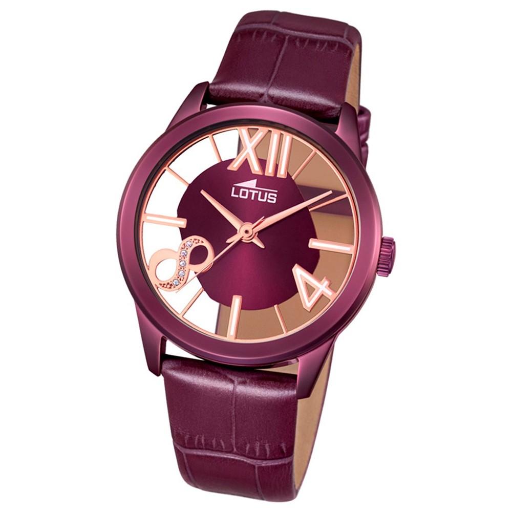 LOTUS Damen-Armbanduhr transparent Trendy Analog Quarz-Uhr Leder lila UL18308/1