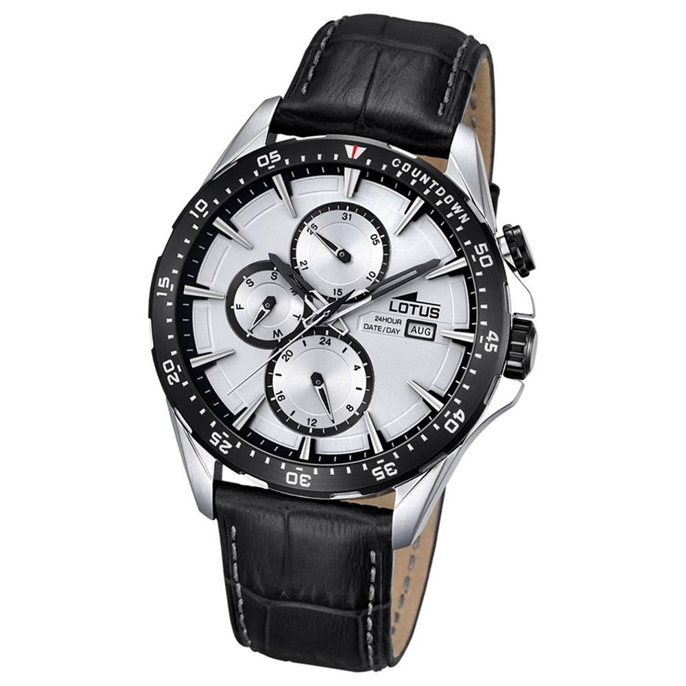 LOTUS Herren-Armbanduhr Analog Quarz Leder schwarz UL18312/1